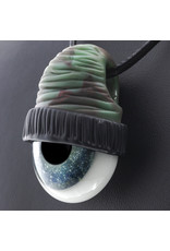 Glass Pendant Teal Beanie Eye Pendant by Junkie Glass (N)