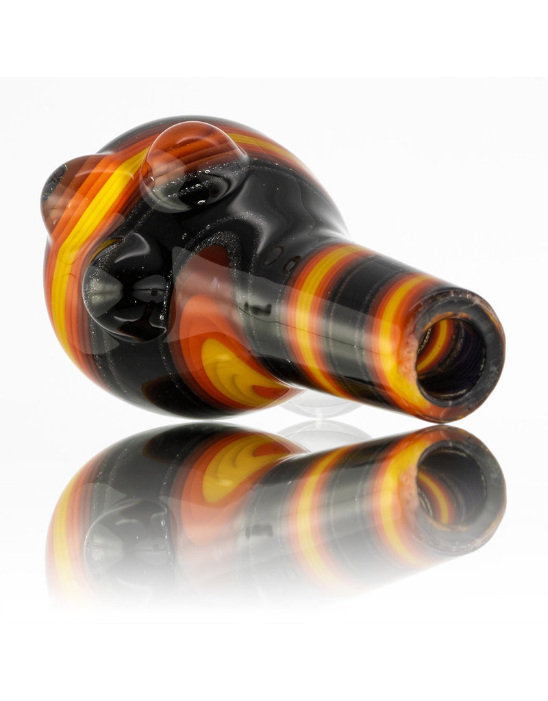 Vigil Glass 14mm Glass Bong Bowl Slide Golden Gate Tubing w/ 3 Clear Dots and Handle (D) by Vigil Glass