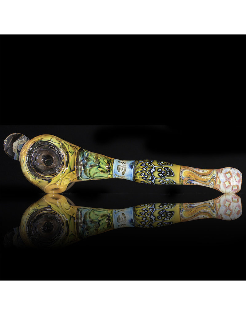 Hugh Glass Skull Tech Glass Hammer Dry Pipe w/ Skull Marble by Hugh Glass