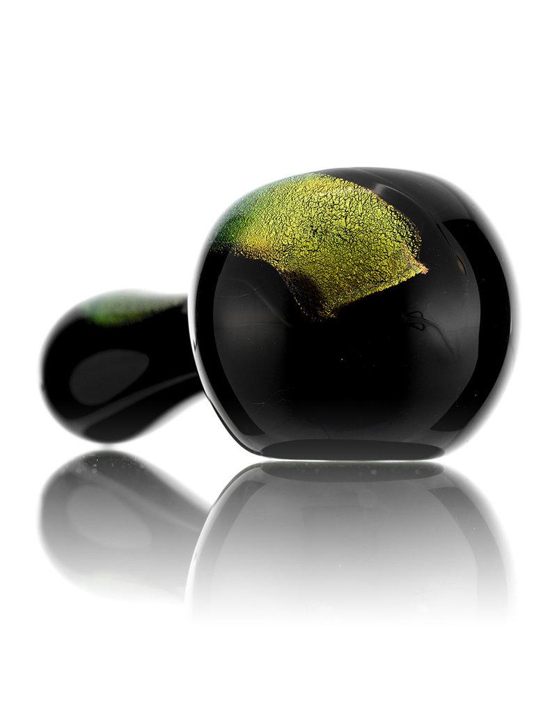 Rowan Glass Spoon Dry Pipe GOLD DICHRO on BLACK by Rowan Glass