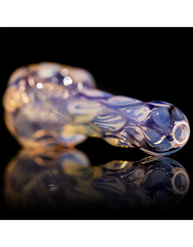 Glass Dry Pipe SILVER Fume over TRANSLUCENT PINK by Griffin