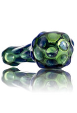 Glass Dry Pipe SILVER Fume over TRANSLUCENT GREEN by Griffin