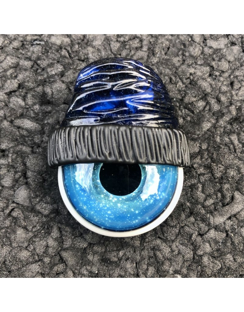 Blue Stardust Moonstone Beanie w/ Space Iris Pendant #5 by Junkie Glass