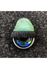 Coconut UV over Tropical Green Beanie w/ Lucy Gold & Silver Space Iris Pendant #10 UV by Junkie Glass