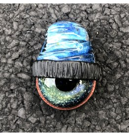 SOLD Lucy over Space Tech Beanie w/ Nova Gold & Silver Space Iris Pendant #11 UV by Junkie Glass