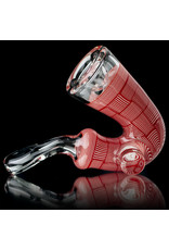 Chris Carlson Glass Pipe Dry Red & White Basketweave Sherlock by Chris Carlson