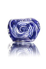 Citrus Chris Glass Dry Pipe Blue White Cane over Fume I/O Thick Pipe by Chris Citrus