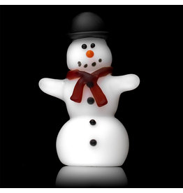 Tammy Baller SOLD Glass Pipe DRY Frosted Glass Snowman (A) by Tammy Baller