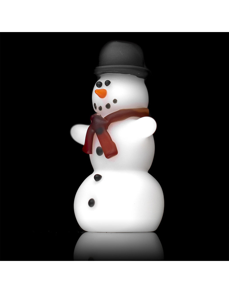 Tammy Baller Glass Pipe DRY Frosted Glass Snowman (A) by Tammy Baller