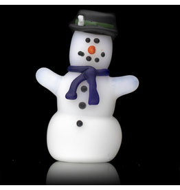 Tammy Baller SOLD Glass Pipe DRY Frosted Glass Snowman (B) by Tammy Baller