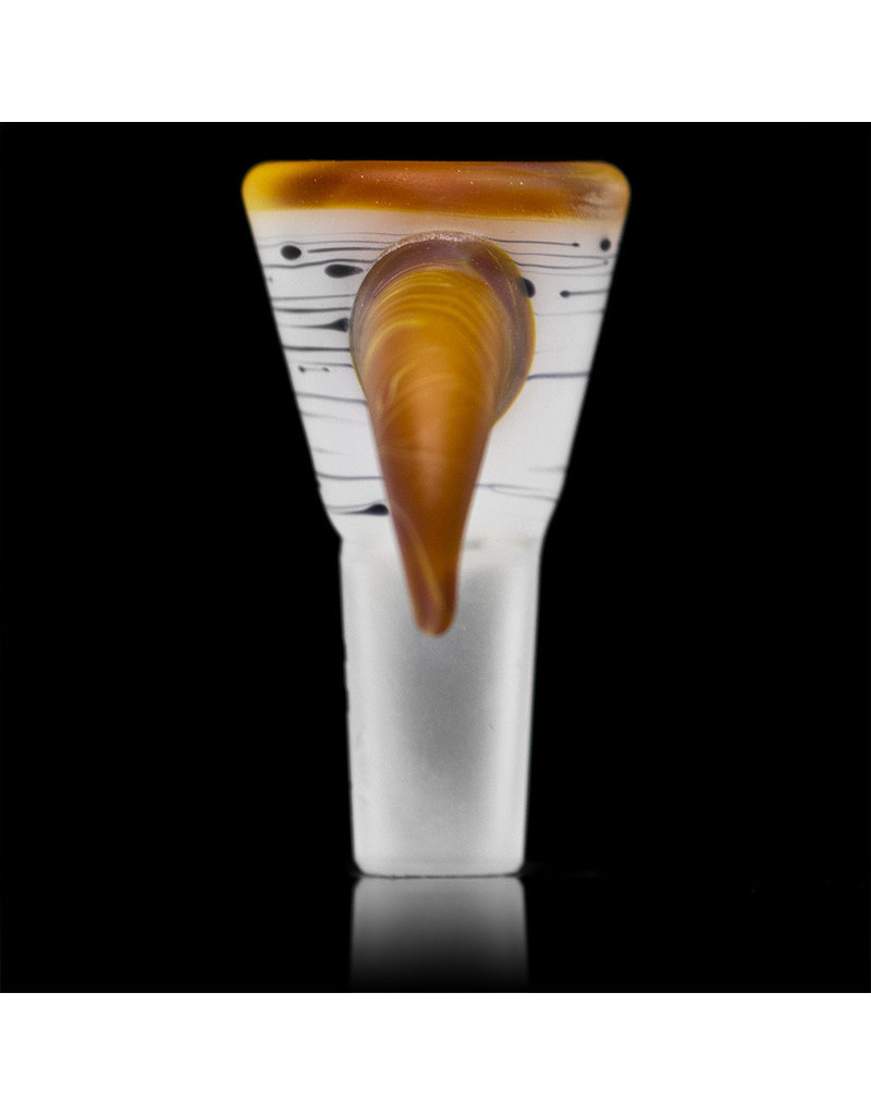 Witch DR 14mm Frosted Glass Bong Bowl Funnel Slide Engelmann Birch w/ Caramel Horn (K) by Witch DR