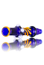 Keith Engelmann Glass Chillum One Hitter Cobalt Blue with Orange Accents by Keith Engelmann