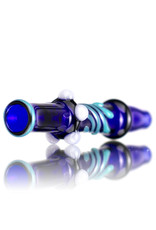 Keith Engelmann Glass Chillum One Hitter Cobalt Blue with Turquoise Accents by Keith Engelmann