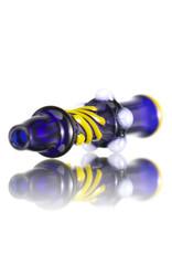 Keith Engelmann Glass Chillum One Hitter Cobalt Blue with Canary Accents by Keith Engelmann