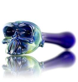 Jeff Lamy Glass Pipe DRY Spoon Skull Fume over Cobalt by Jeff Lamy (B)