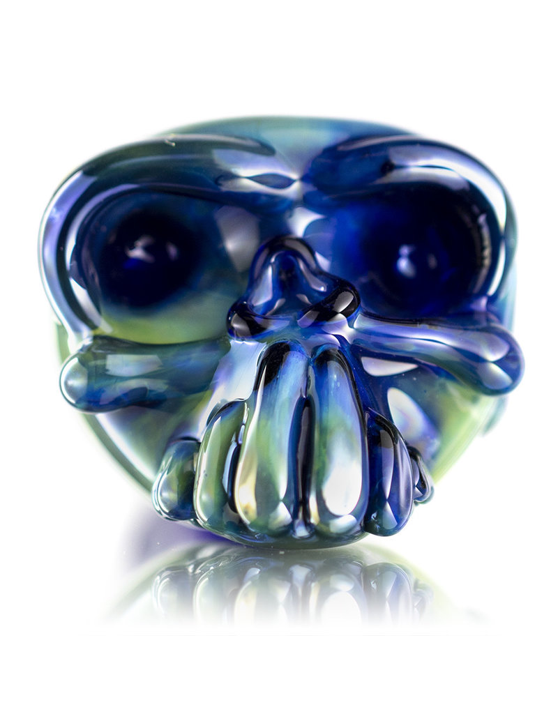 Jeff Lamy Glass Pipe DRY Spoon Skull Fume over Cobalt by Jeff Lamy (B)