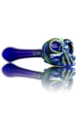 Jeff Lamy Glass Pipe DRY Spoon Skull Fume over Cobalt by Jeff Lamy (D)