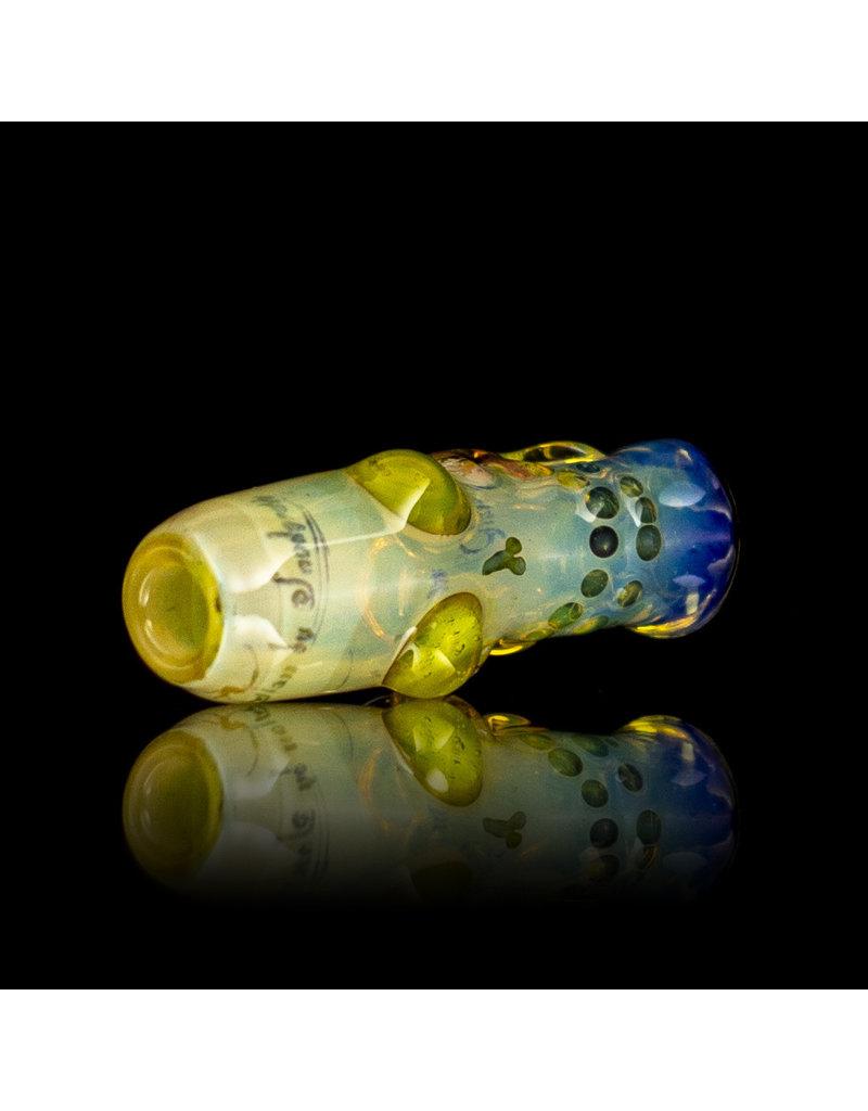 Bob Snodgrass Glass Skull Bead with Blu UV and Illuminati Accents by Bob Snodgrass