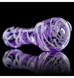 Koy Glass Glass Pipe White Splatter on Translucent PINK by Koy Glass