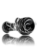 Koy Glass Glass Pipe White Splatter on Black by Koy Glass
