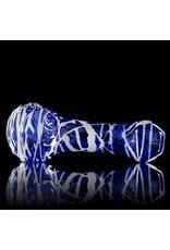 Koy Glass Glass Pipe White Splatter on BLUE by Koy Glass