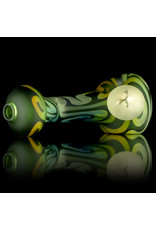 Glass Pipe Frosted Zig Zag TRANSLUCENT  GREEN with Fume Accents by Willow Gayton