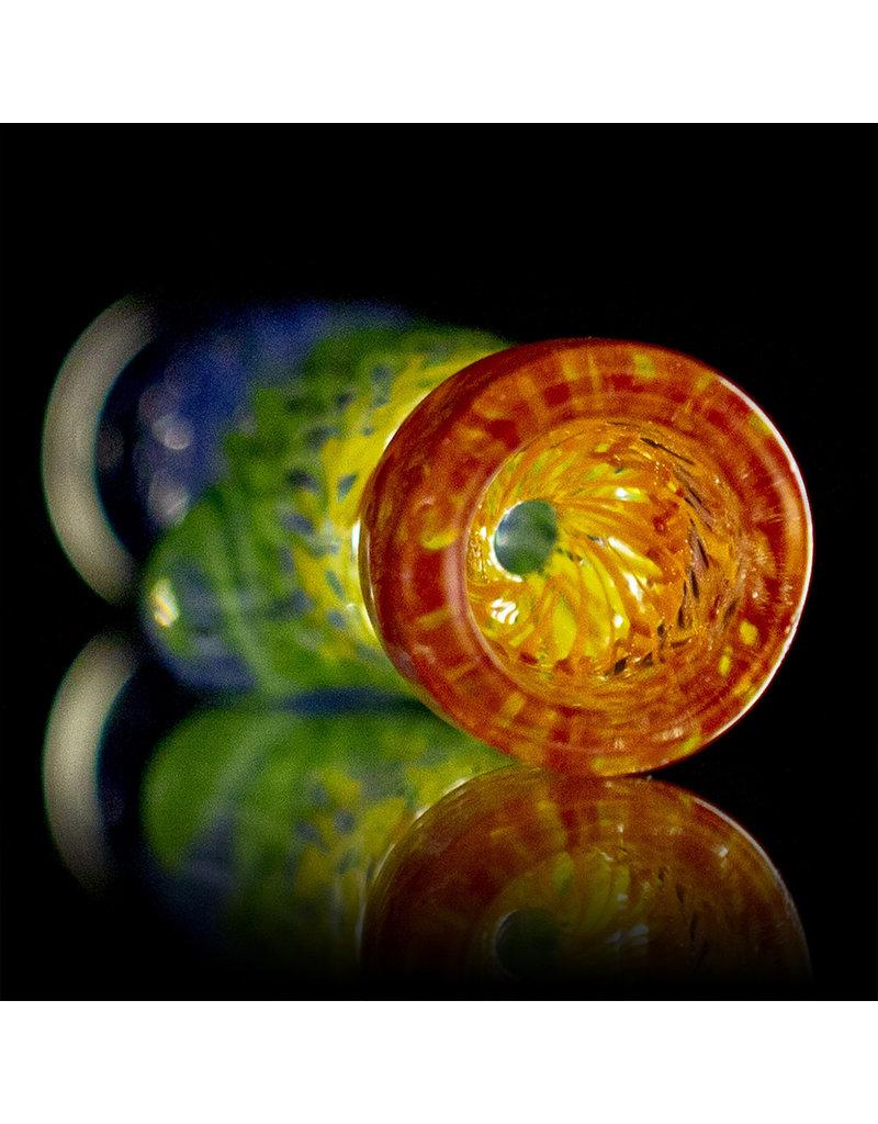 Key Glass Co Glass One Hitter Rainbow Coil Chillum (B) by Key Glass