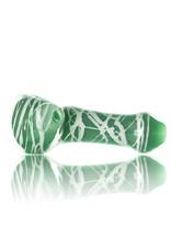Koy Glass Glass Pipe White Splatter on AZUL by Koy Glass