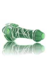 Koy Glass Glass Pipe White Splatter on JADE by Koy Glass