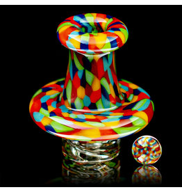 Hollinger SOLD Directional Airflow Carb Cap (B) Rainbow Chipstack Spinner Set by Zach Hollinger