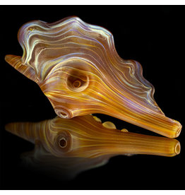 Christina Cody Glass Dry Pipe Frosted Glass AMBER PURPLE (B) Seashell by Christina Cody