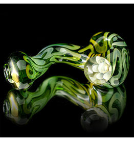 Glass Pipe Zig Zag Pipe TRANSLUCENT  GREEN with Fume Accents by Willow Gayton