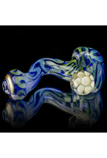 Glass Pipe Zig Zag Pipe TRANSLUCENT  BLUE with Fume Accents by Willow Gayton