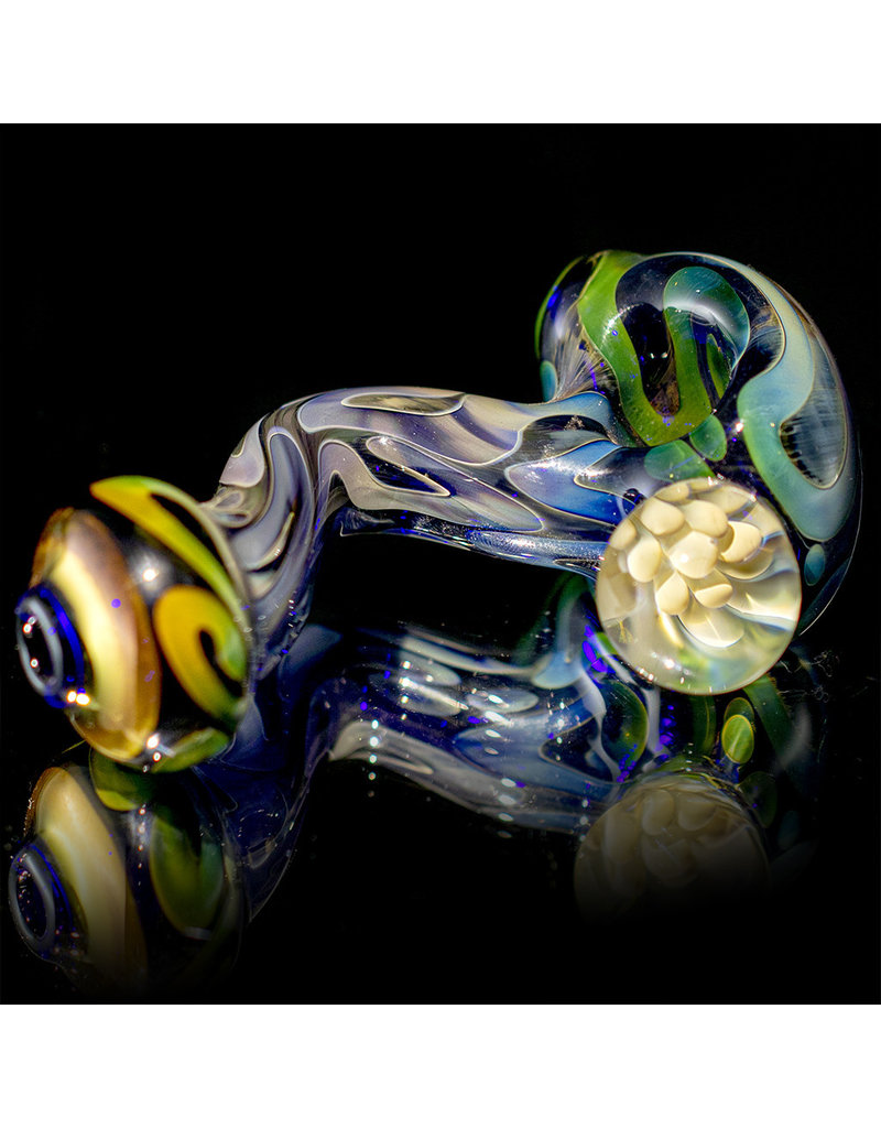 Glass Pipe Zig Zag Pipe COBALT with Fume Accents by Willow Gayton