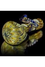 Witch DR Glass Pipe Dry Frog Spoon (A) Cobalt with MAI TAI Wrap and Rake by Kevin Engelmann