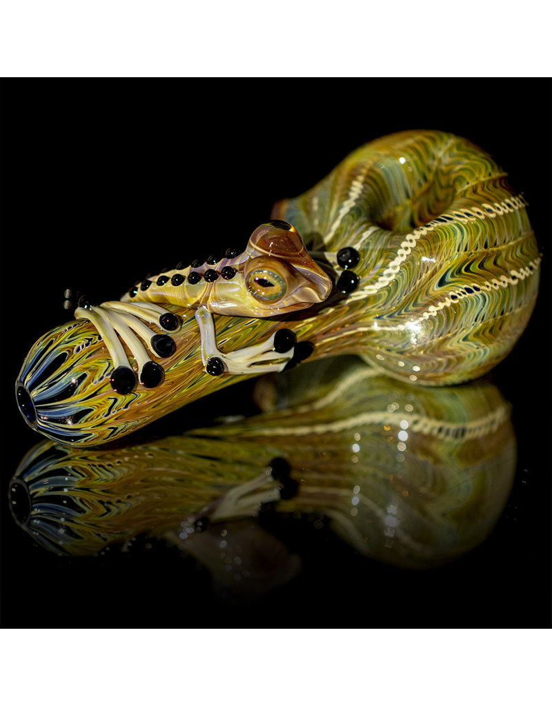Witch DR Glass Pipe Dry Frog Spoon (B) Cobalt with Caramel Wrap and Rake by Kevin Engelmann