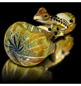 Witch DR SOLD Glass Pipe Dry Frog Spoon (B) Cobalt with Caramel Wrap and Rake by Kevin Engelmann
