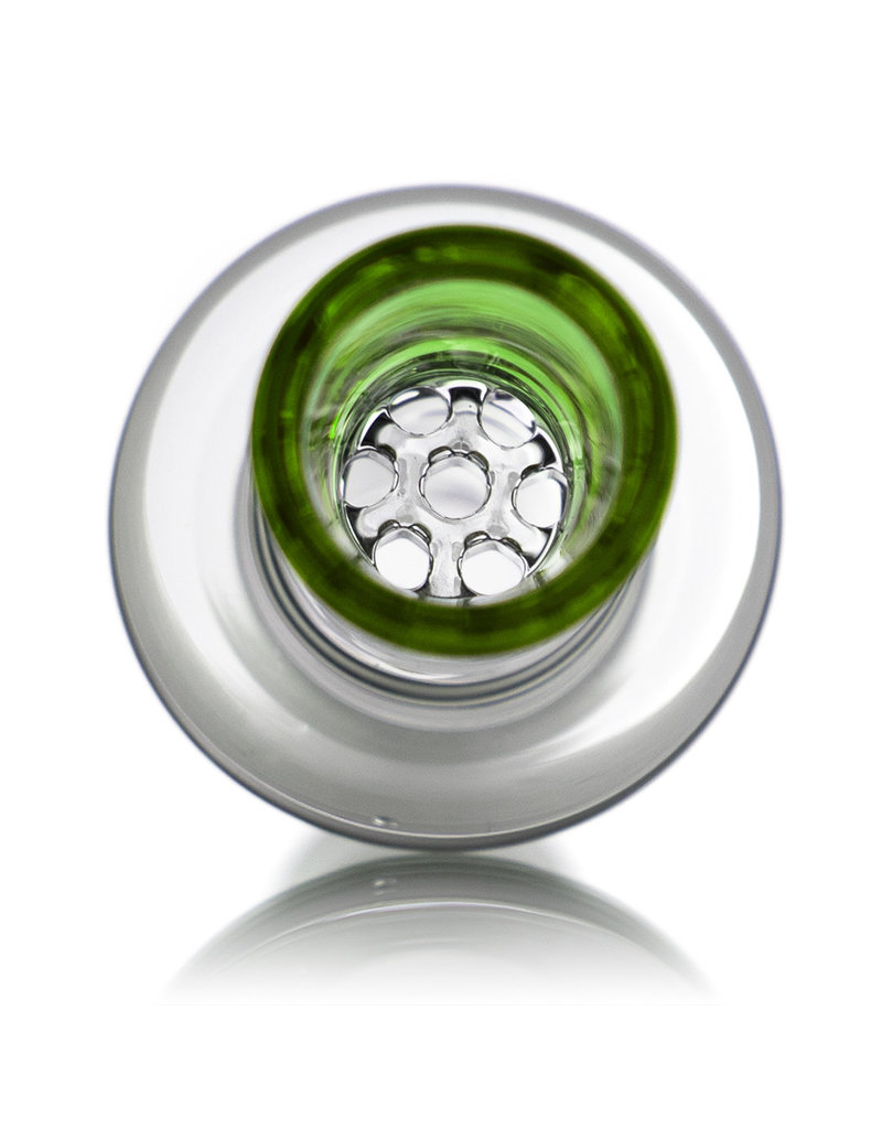 18mm GREEN Honeycomb Disc Glass Bowl Slide by Blazing Blue Glass