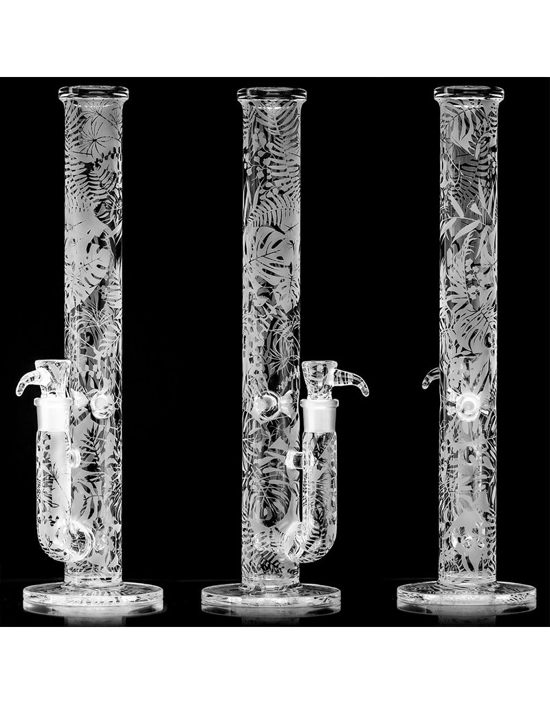 "Witch DR 18mm 44x4 15"" Etched Glass Water Bong with Matching Slide 'Jurassic Toker' by Witch DR Studio"