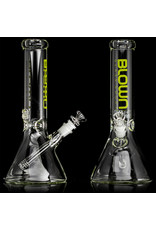"""14mm 50x5 12"""" Beaker Water Bong with slide and removable downstem LIME  by Blown Glass Goods"""