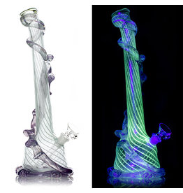 """Special K SOLD 14mm 14"""" UV Reactive Special K Soft Glass Water Bong Medium Wrapped Color (E) with Downsten and Slide"""