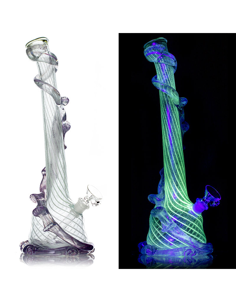 """Special K 14mm 14"""" UV Reactive Special K Soft Glass Water Bong Medium Wrapped Color (E) with Downsten and Slide"""