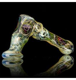 """Brad Tenner 6.25"""" Brad Tenner Large RED EYE Fume Skull Hammer Dry (G) by BT Glass"""