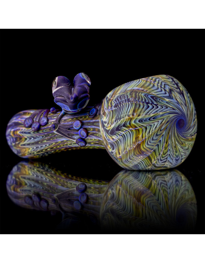 Witch DR Glass Pipe Frosted Cobalt w/Carmel Wrap Rake and Dark Cobalt/Amber Purple Frog (K) by Kevin Engelmann