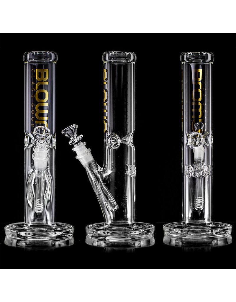 "12"" 50x5mm Straight Bong with GOLD FOIL Logo Accent, removable downstem and slide by BLOWN Glass Goods"