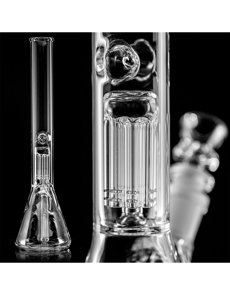 """TRU Glass 14mm 14"""" 36x4mm Water Bong with 8 Arm Tree Perc, removable downstem and slide by TRU"""