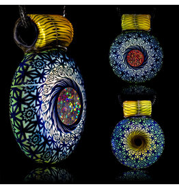 Steve Sizelove SOLD Glass Pendant Loveday Fumetech Bubbletrap Pendant 31 by Steve Sizelove