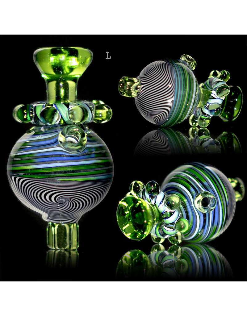 Fidget Glass BATCH.318 25mm Bubble Carb Cap Fidget Spinner by Keith Engelmann