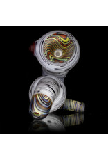 "Witch DR 4"" Glass Sherlock Pipe Frosted Classic Birch with Color Accented  Worked Sections (A)"