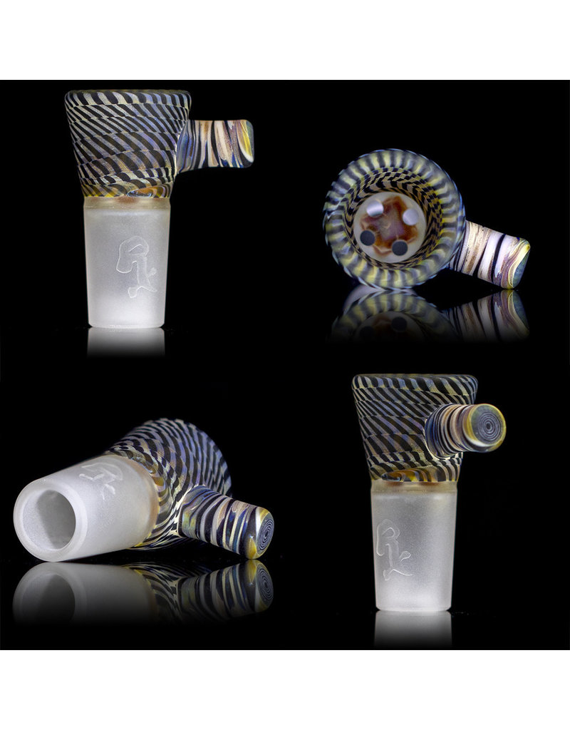 Witch DR 18mm Bong Bowl Slide with 4 Hole Glass Screen and Worked Handle by Keith Engelmann  (A)